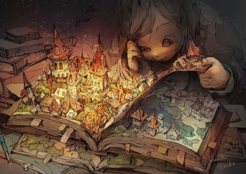 Garoto deitado lendo livro colorido com figuras em 3D.