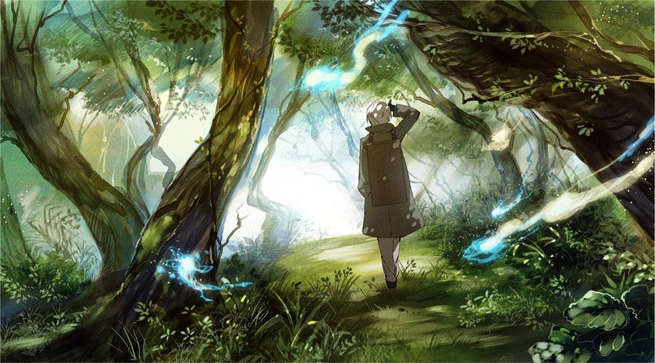Homem andando em meio a floresta com pequenas luzes azuis ao seu redor lhe acompanhando.