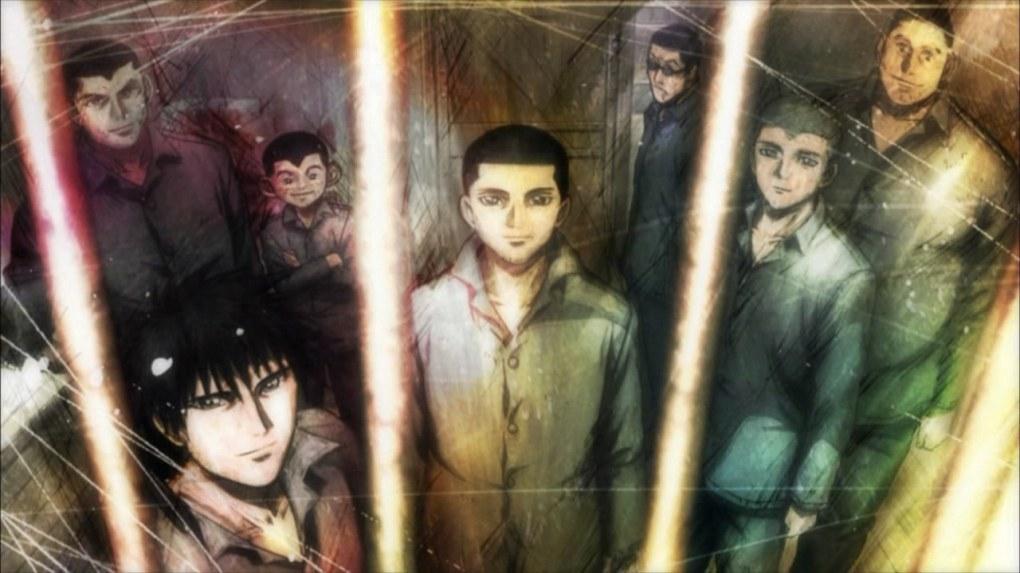 7 homens atrás de grades. Arte de mangá colorida.