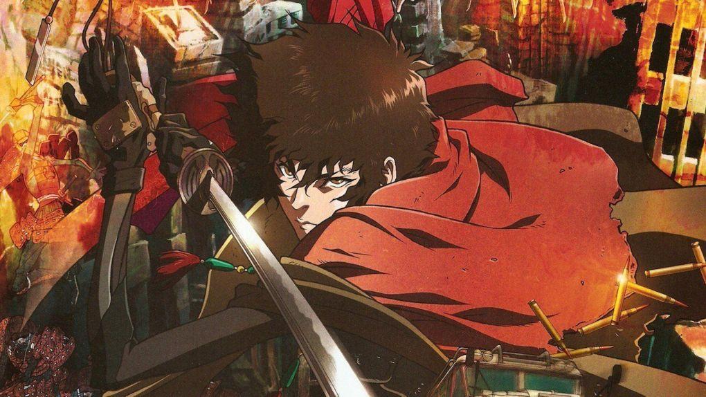 Homem de capa vermelha e braço mecânico segurando uma espada.