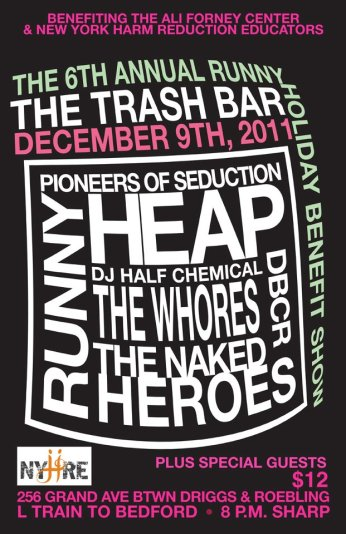 6th Annual Holiday Benefit Show @ Trash Bar w/ Heap, The Whores, The Naked Heroes, and DBRCR - 12.9.2011