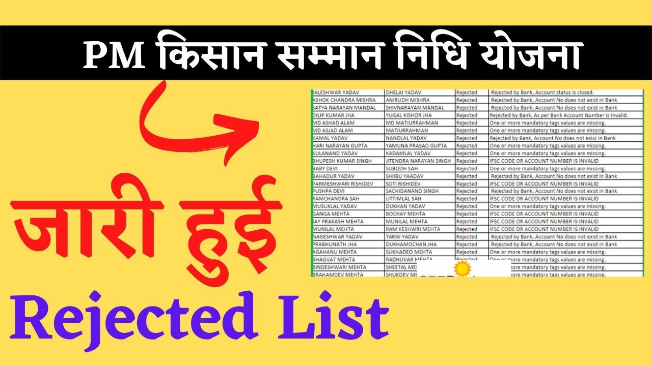 PM Kisan Samman Nidhi Rejected List