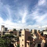 台北で日食の空