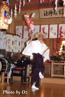 函館市 上湯川稲荷神社 松前神楽 山神舞