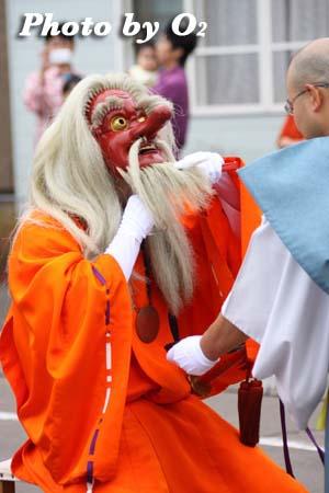 平成21年 古平町 琴平神社例祭 神社行列 お神酒を飲む 猿田彦