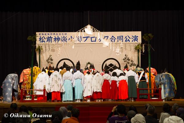松前神楽小樽ブロック保存会合同公演 2013 京極町 惣神拝