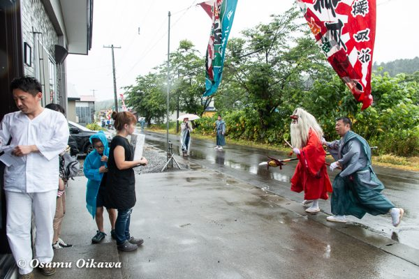 平成30年 古平町 琴平神社例大祭 二日目 渡御祭 雨 玄関先 猿田彦