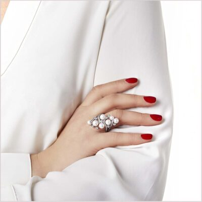 Yoko London Raindrop Diamond and Akoya Pearl Ring