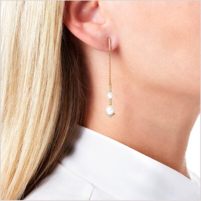 Yoko London Trend Freshwater Pearl and Diamond Earrings