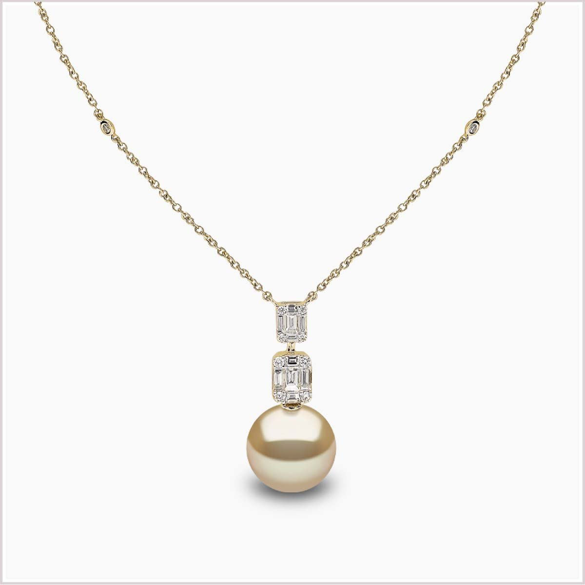Yoko London Starlight Diamond and Golden Golden South Sea Pearl Necklace