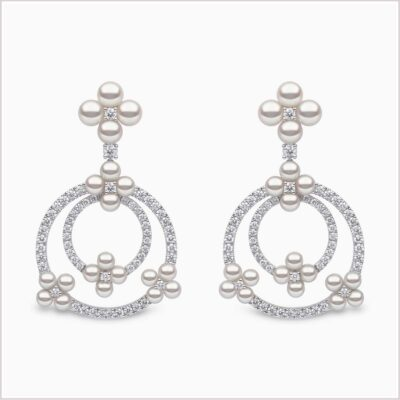 Yoko London Raindrop Diamond and Akoya Pearl Earrings