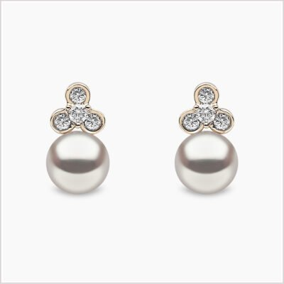 Yoko London Diamond and Freshwater Pearl Stud Earrings