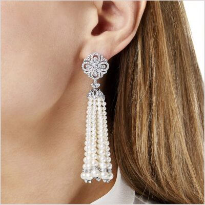 Yoko London Tassel Diamond and Freshwater Pearl Earrings
