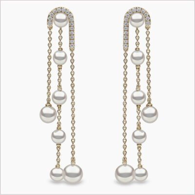 Yoko London Sleek Diamond and Freshwater Pearl Earrings