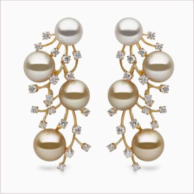 Yoko London Aurelia Diamond, South Sea Pearl and Golden South Sea Pearl Earrings