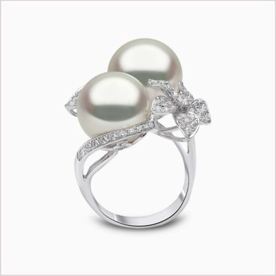 oko London Petal Diamond and South Sea Pearl Ring
