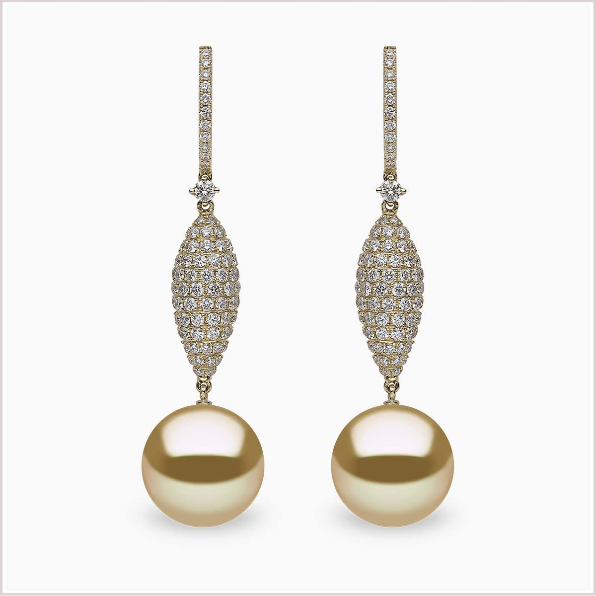 Yoko London Aurelia Diamond and Golden South Sea Pearl Earrings