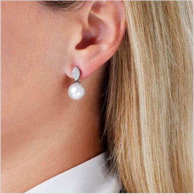 Classic South Sea Pearl and Diamond Earrings