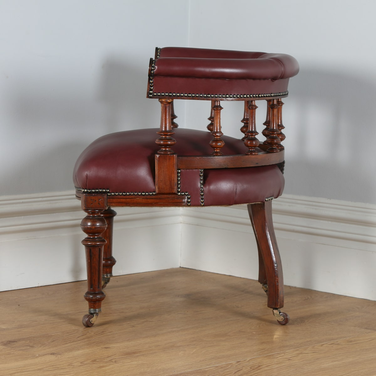Burgundy Office Chair Antique Victorian Oak Burgundy Red Leather Office Chair