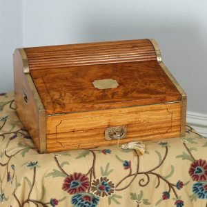 Antique Victorian Colonial Camphor Wood & Brass Rolltop Writing Box (Circa 1850)