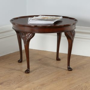 Antique Queen Anne Style Burr Walnut Round Coffee Table by Cameo (Circa 1960)