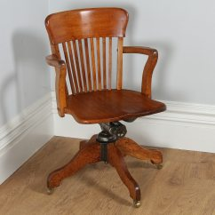 Revolving Office Armchair 2 Table And Chairs Antique Edwardian Oak Desk