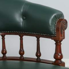 Antique Mahogany Office Chair Cover Ideas For Folding Chairs Victorian Green Leather Desk