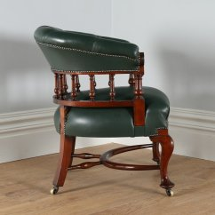Antique Mahogany Office Chair Media Room Chairs Victorian Green Leather Desk