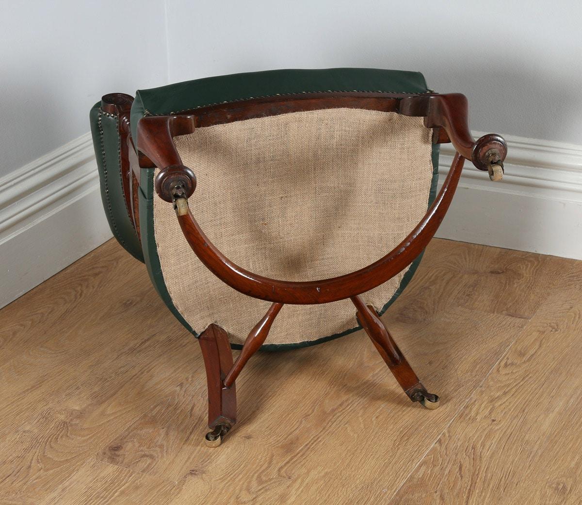 antique mahogany office chair cedar rocking victorian green leather desk