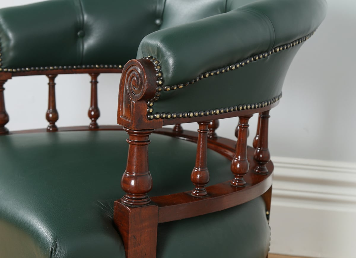 antique mahogany office chair parson covers etsy victorian green leather desk