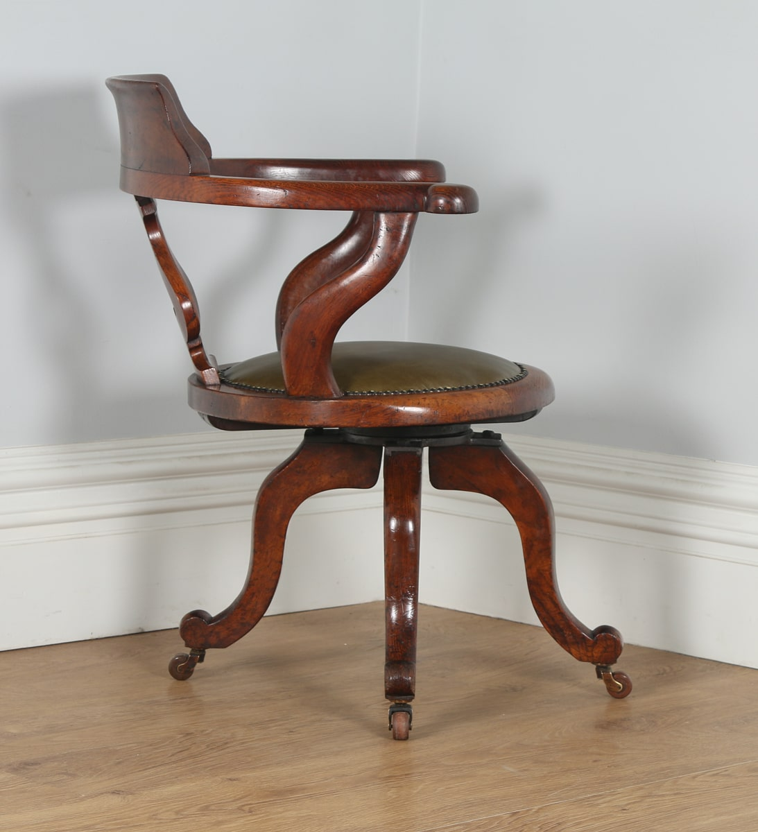 revolving chair in english office heating pad antique victorian oak captains