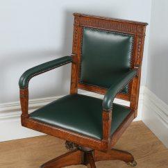 Revolving Office Armchair White Wood Chairs Wedding Antique Adams Style Oak Desk Chair Circa
