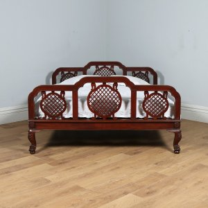 "Antique 6ft 6"" Edwardian Anglo Indian Colonial Raj Mahogany Super King Bed (Circa 1910) - yolagray.com"