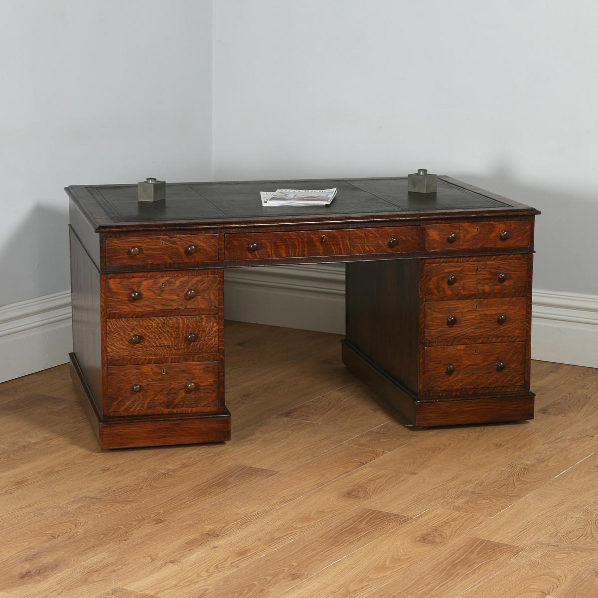 antique mahogany office chair electric reclining victorian furniture gothic desks english oak leather 5ft partners pedestal desk circa