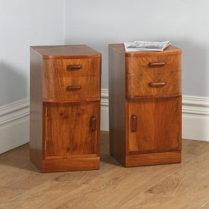 Antique Pair of English Art Deco Figured Walnut Bedside Cabinets by Waring & Gillow (Circa 1930) - yolagray.com