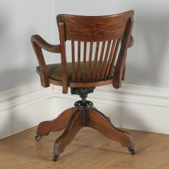 Revolving Chair In English Converts To Bed Canada Antique Edwardian Oak Office Desk Arm