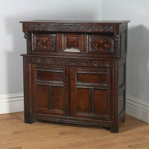 Antique Charles II Yorkshire Inlaid Marquetry Oak Court Cupboard (Circa 1660) - yolagray.com
