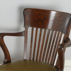 Revolving Chair In English Folding Accessories Antique Edwardian Oak Office Desk Arm