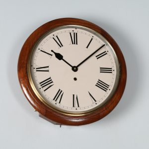 "Antique 15"" Mahogany Smiths Enfield Railway Station / School Round Dial Wall Clock (Timepiece)- yolagray.com"