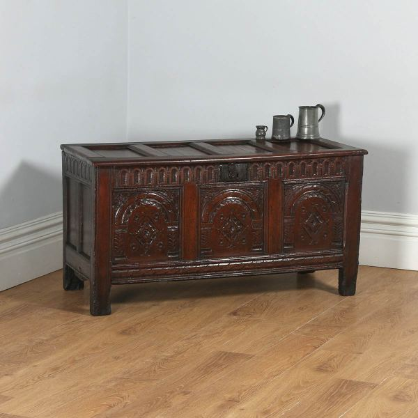 Antique English Charles I East Anglia Oak Joined Coffer Chest / Coffer (Circa 1640)- yolagray.com