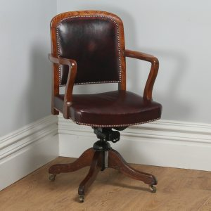 Antique English Edwardian Oak and Burgundy Red Leather Revolving Office Desk Arm Chair (Circa 1920)- yolagray.com