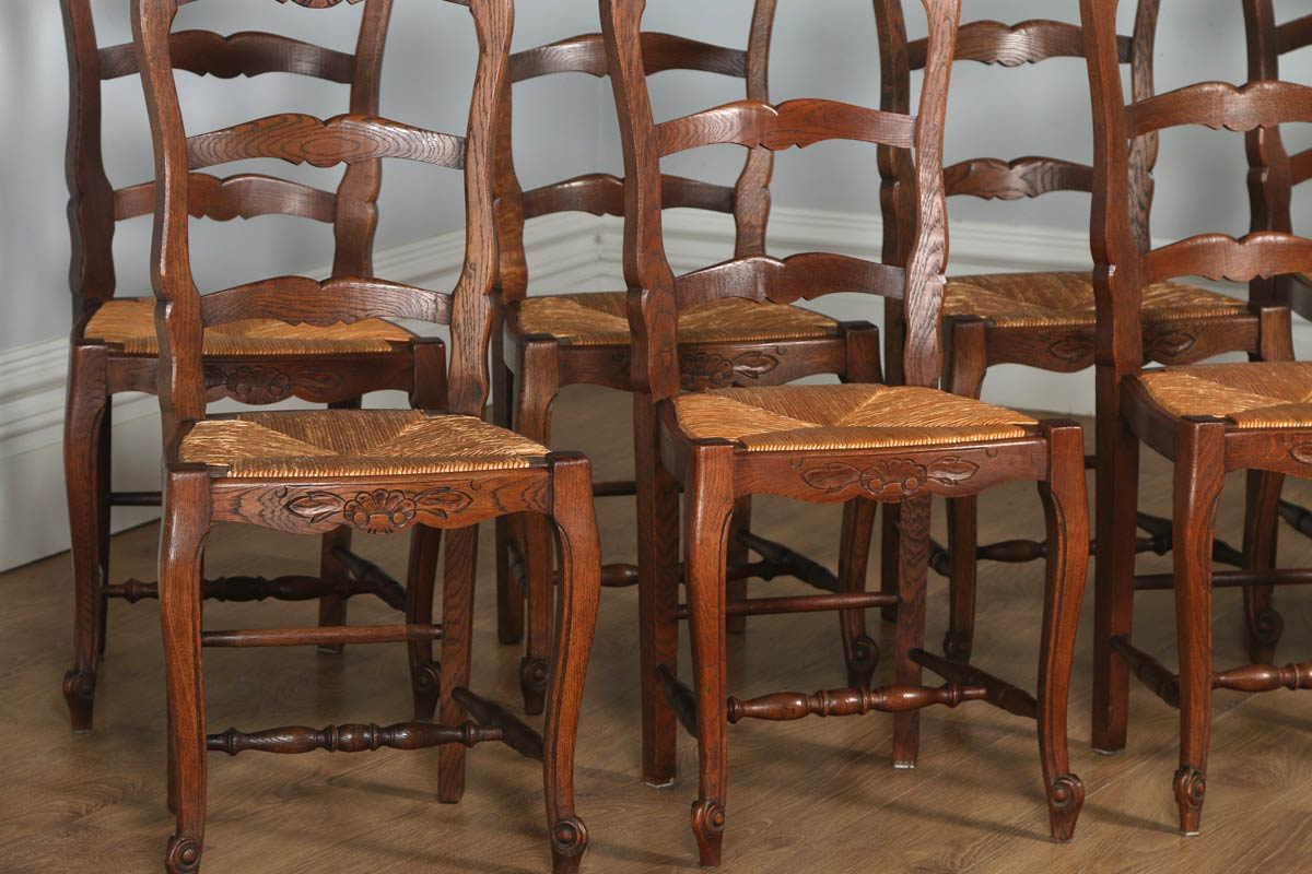 tiger oak dining chairs burnt orange patio chair cushions antique set of 12 french louis xv style ladder back
