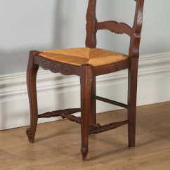 Antique Ladder Back Chairs With Rush Seats Mickey Mouse Uk Set Of 12 French Louis Xv Style Oak