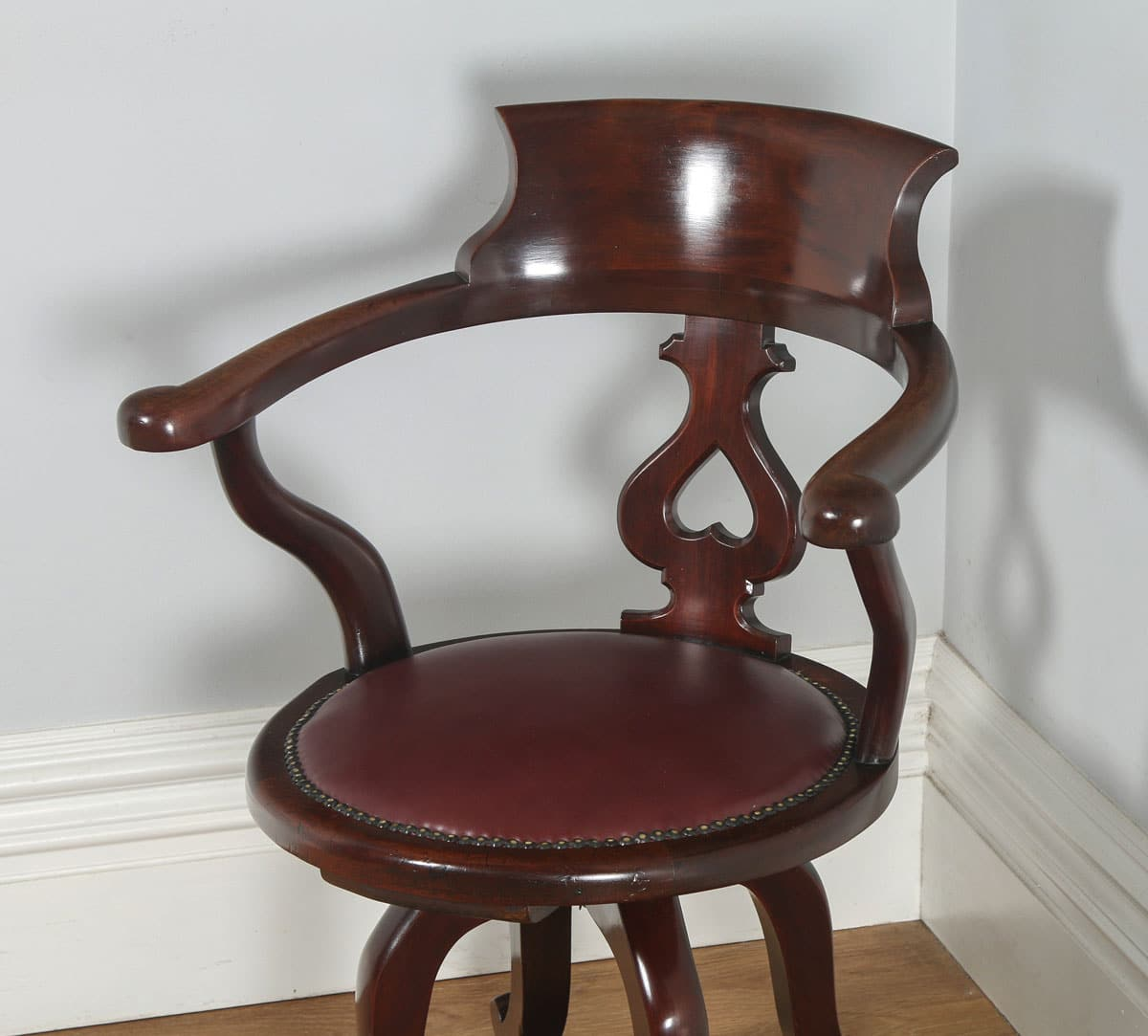 revolving office armchair yellow chair covers for sale antique english victorian mahogany and red leather