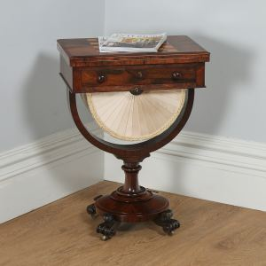 Antique English William IV Rosewood & Birds Eye Maple Work Table (Circa 1830) - yolagray.com