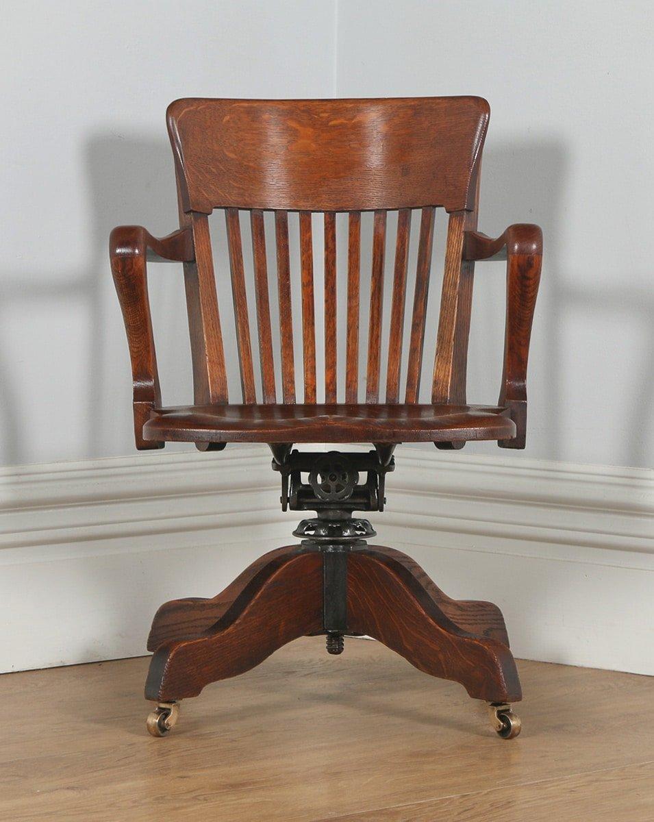 revolving office armchair luxury chairs melbourne antique edwardian oak swivel desk arm chair (circa 1900) - yola gray antiques
