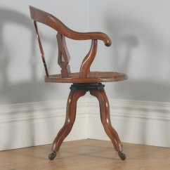 Revolving Chair In English Teacher Table And Antique Victorian Mahogany Cane Office