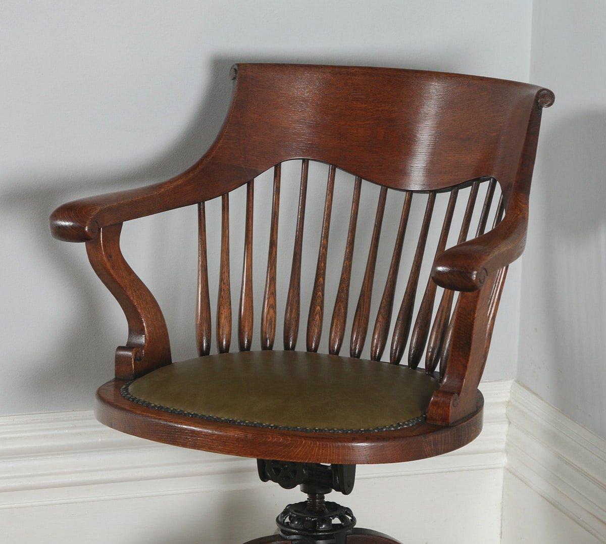 revolving chair in english steel amazon antique victorian oak office desk green