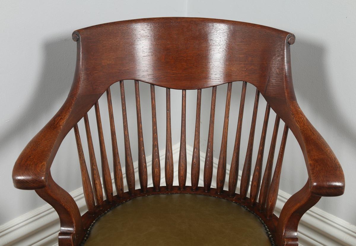 revolving office armchair chair cover hire torquay antique english victorian oak desk green