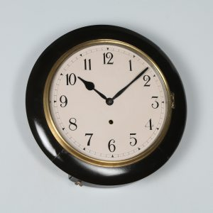 "Antique 16"" Mahogany Ansonia Railway Station / School Round Dial Wall Clock (Timepiece)- yolagray.com"